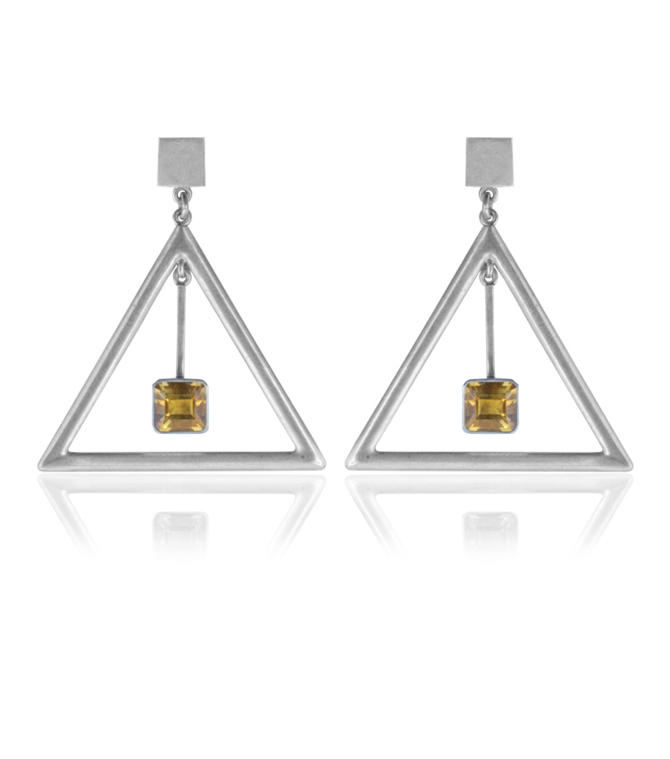 Brinco em prata com cristal amarelo - ICB819