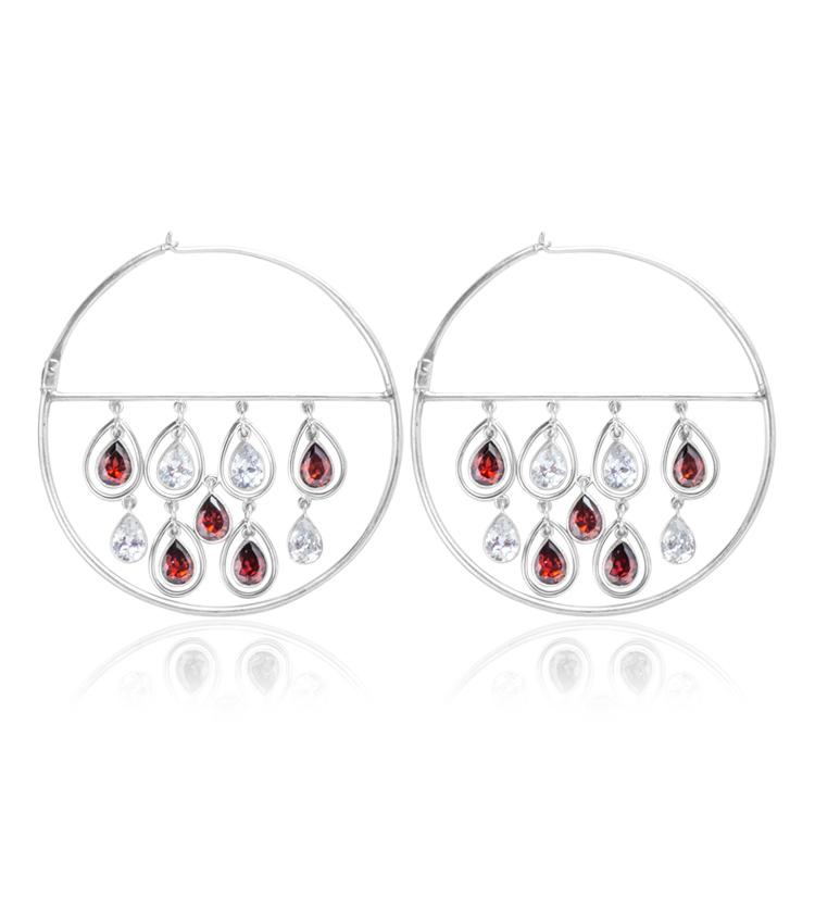 Brinco prata e cristais vermelhos - ICB827