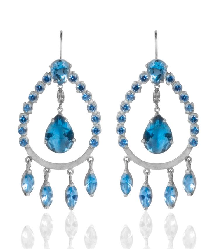 Brincos em prata com cristais azuis - ICB824