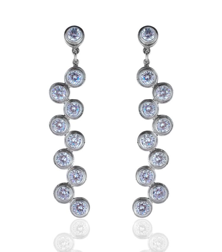 Brincos em prata com cristais - ICB823