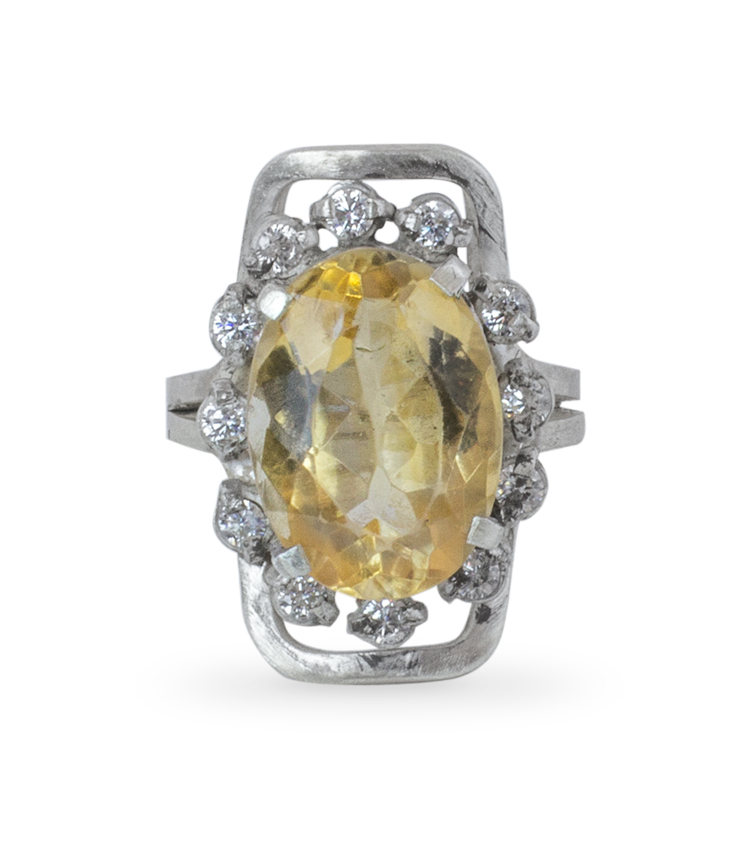 Anel em prata com pedra amarela - ICA917