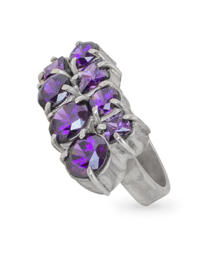 Anel em prata com pedras roxas - ICA921