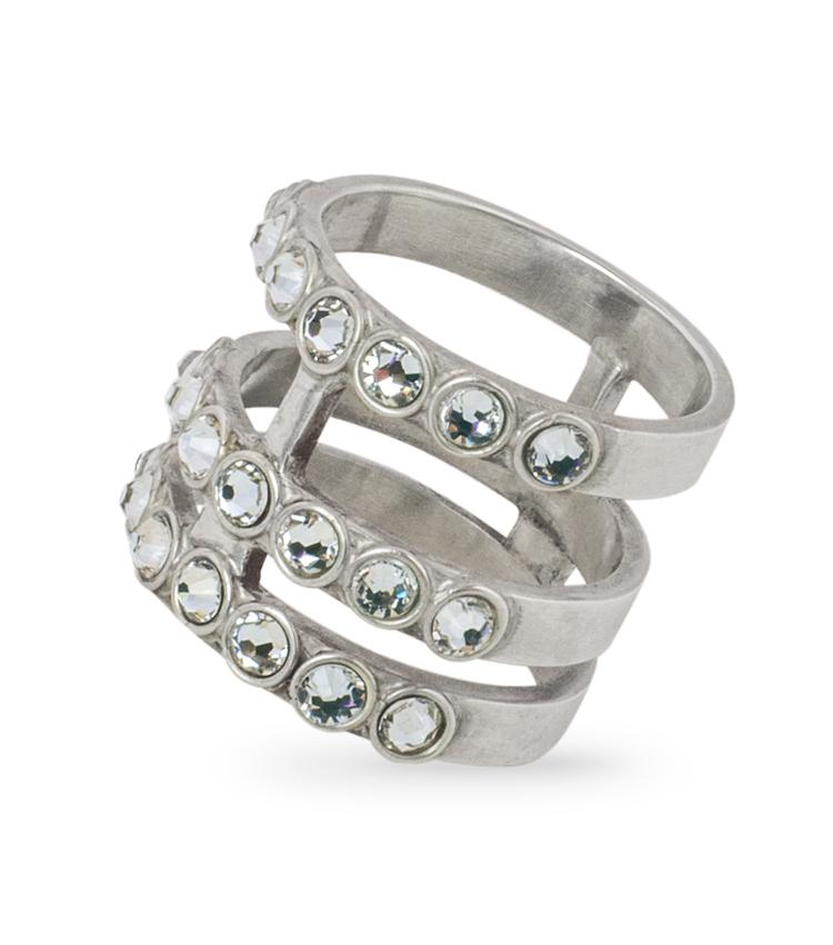 Anel em prata com cristais - ICA928