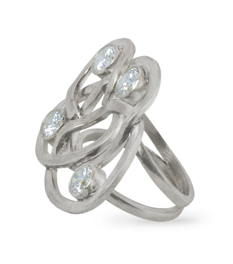 Anel em prata com cristais - ICA926
