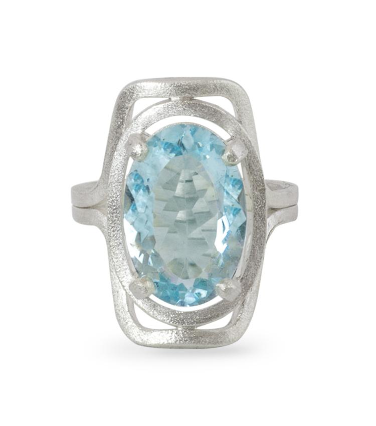 Anel em prata com pedra azul - ICA924