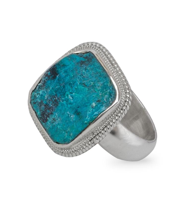 Anel em prata  com pedra azul - ICA910