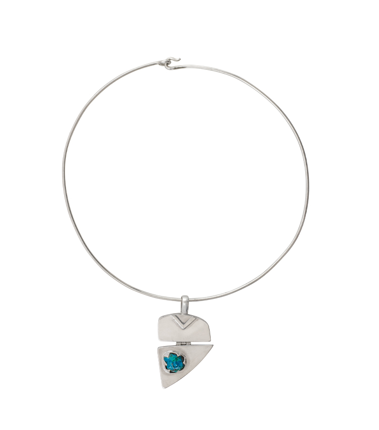 Colar em prata com pedra azul - ICT506