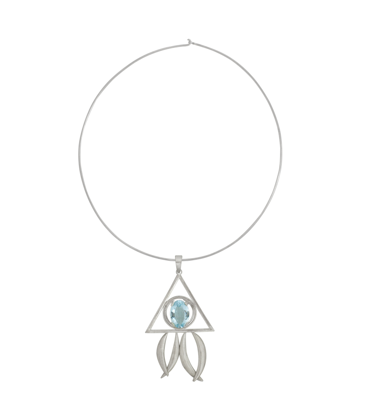 Colar em prata com cristal azul - ICT504