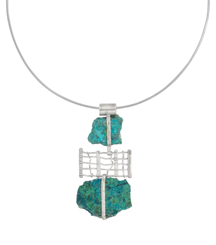 Colar em prata com pedras azuis - ICT514