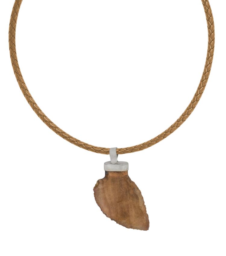 Colar de couro Pingente de Pedra Rústica - IC628