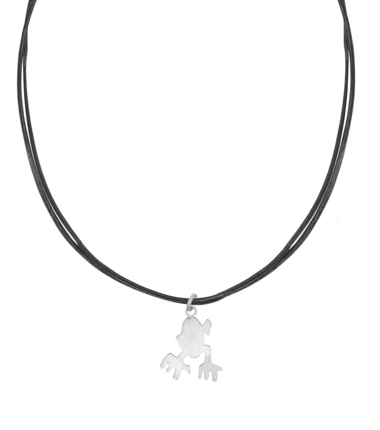 Colar de couro com pingente de prata - IC621